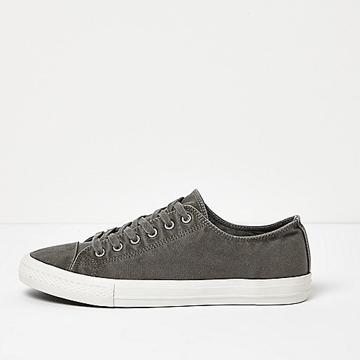 Dark grey canvas lace-up sneakers