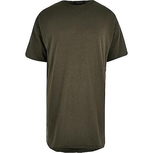 Khaki extreme longline T-shirt