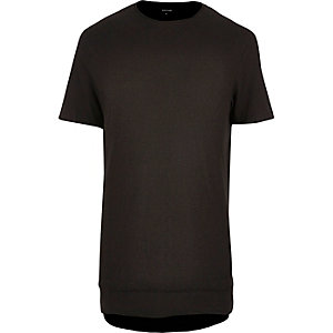 Black layered longline T-shirt