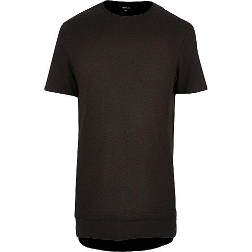 Black layered longline T-shirt
