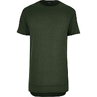 Langes T-Shirt in Khaki im Lagen-Look