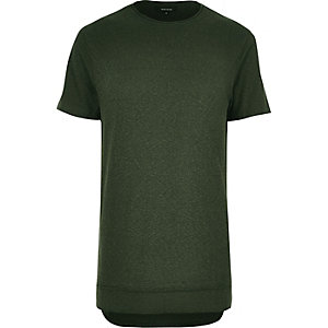 Khaki layered longline T-shirt