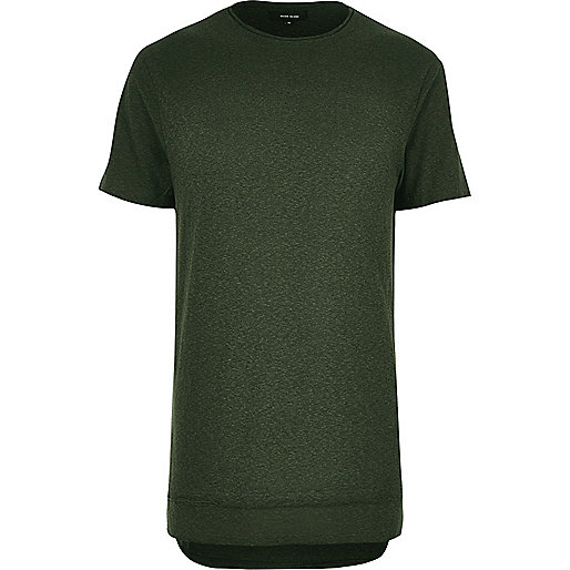 Khaki layered longline T-shirt