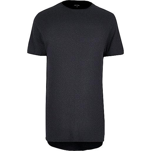 T-shirt long noir délavé
