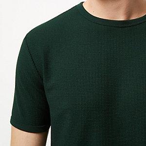 Green textured longline t-shirt