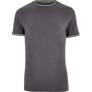 Dark grey sporty muscle fit T-shirt