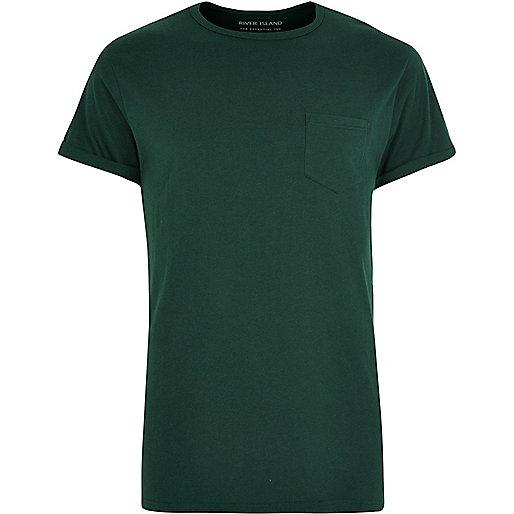 Dark green chest pocket T-shirt