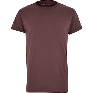 Purple chest pocket T-shirt