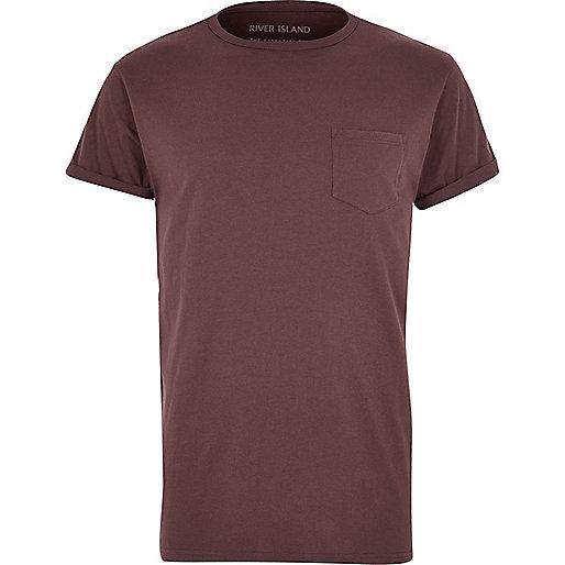 Lila T-Shirt mit Brusttasche