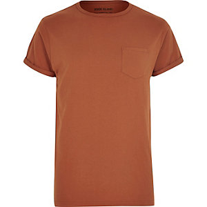 Dark orange crew neck T-shirt