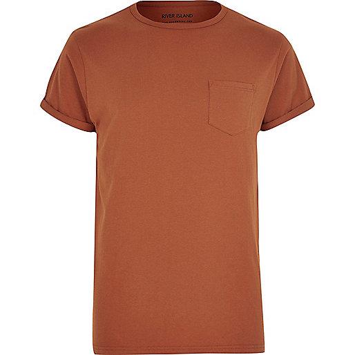 T-shirt orange foncé avec poche poitrine