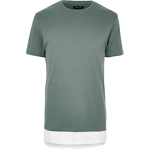 Green longline double layer T-shirt