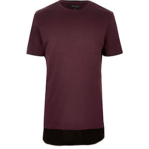 Dark red longline double layer T-shirt