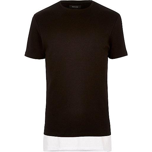 Black longline double layer T-shirt