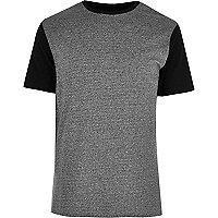 T-shirt colour block gris texturé