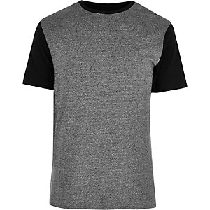 Grey colour block textured T-shirt