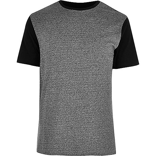 Grey colour block textured T-shirt