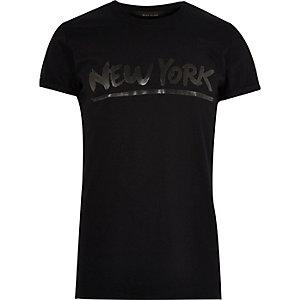 Black New York print T-shirt