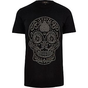 Black studded skull print T-shirt