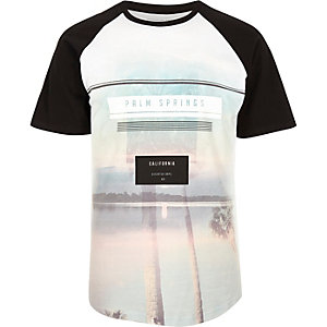 Black Palm Springs print raglan T-shirt