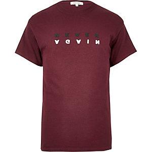 Dark red slogan print t-shirt