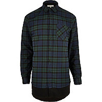 Green checked double layer longline shirt