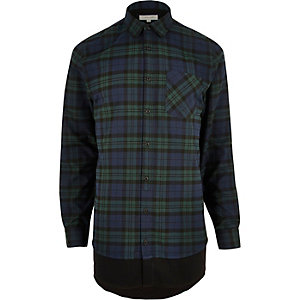 Green casual check longline shirt