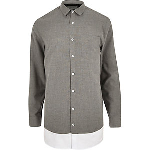 Grey double layer longline shirt