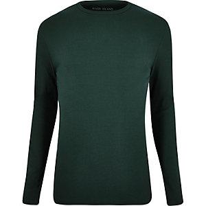 Dark green ribbed long sleeve T-shirt