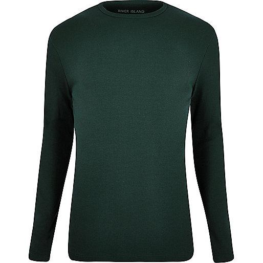 T-shirt vert foncé à côtes et manches longues