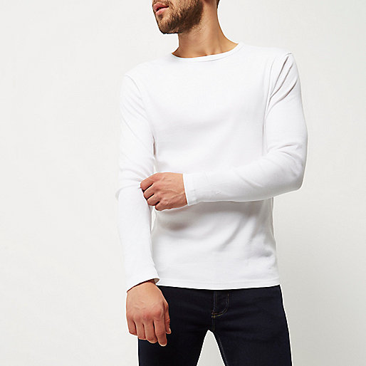 White ribbed slim fit long sleeve t shirt plain t shirts Mens long sleeve white t shirt