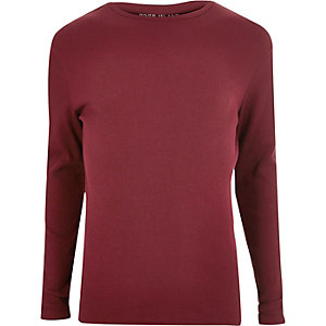 Red ribbed long sleeve T-shirt