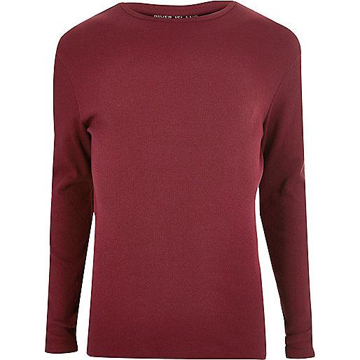 T-shirt rouge côtelé cintré à manches longues