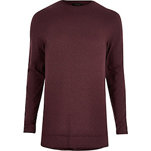 Dark red longline long sleeve T-shirt