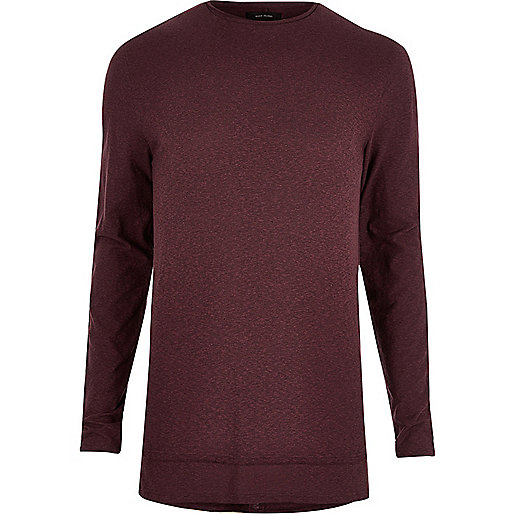 Burgundy longline long sleeve T-shirt