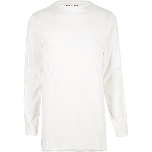 White longline crew neck long sleeve T-shirt