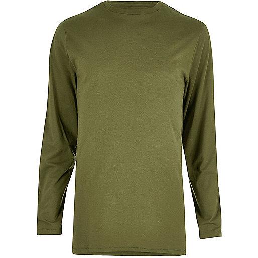 Khaki longline crew neck long sleeve T-shirt