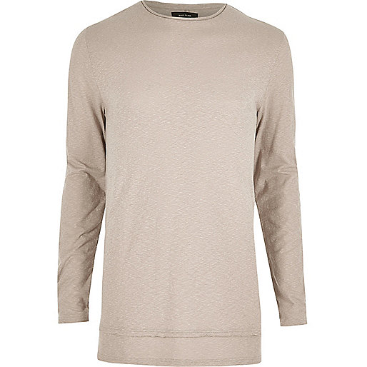 Ecru longline long sleeve T-shirt