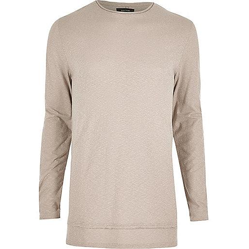 T-shirt écru long à manches longues