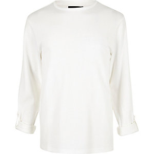 White airtex long sleeve T-shirt