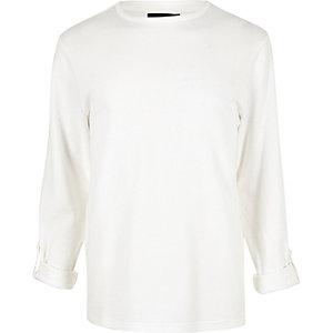 T-shirt airtex blanc à manches longues