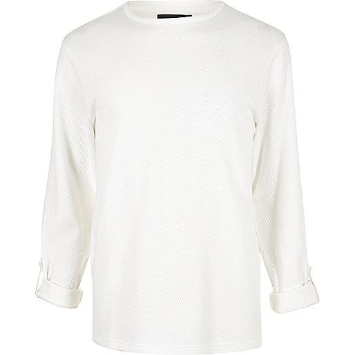 White airtex long sleeve T-shirt