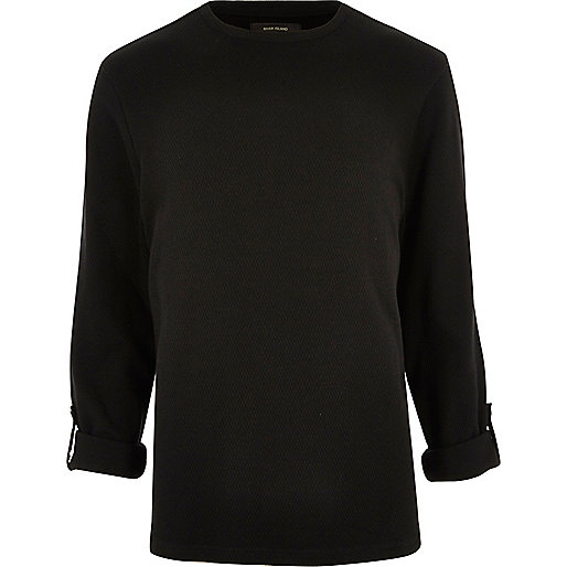 Black airtex long sleeve T-shirt