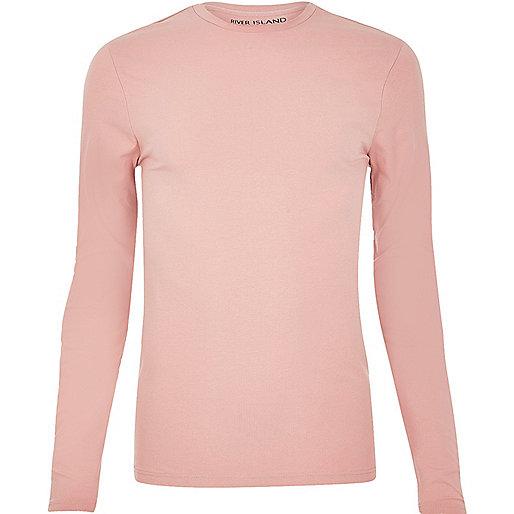 T-shirt ajusté rose à manches longues