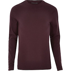 Dark purple muscle fit long sleeve T-shirt