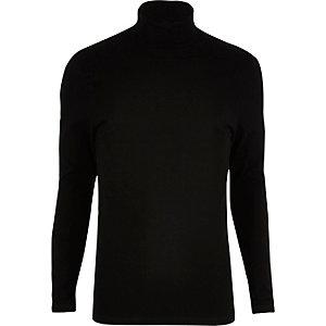 Black muscle fit roll neck jumper