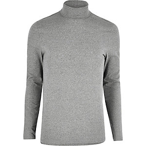 Grey muscle fit roll neck sweater