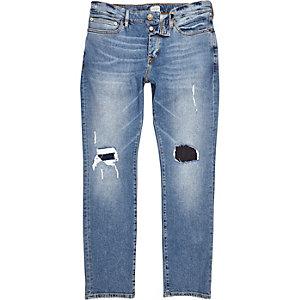Dylan – Abgenutzte Slim Jeans in mittelblauer Waschung