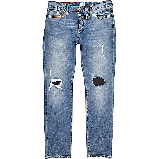 Mid blue wash ripped Dylan slim jeans