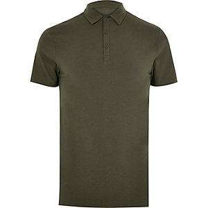 Khaki muscle fit polo shirt